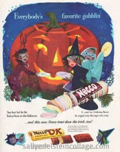 I'm sure the giant jack o'lantern would love kiddies stuffing giant Necco wafers into his mouth. Of course, we should all know that many Necco candies have a chemical composition similar to chalk.