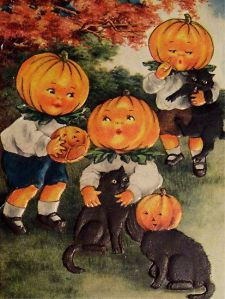 Man, black cats really get a raw deal. If everyone doesn't think they're bad luck, they're being subjected to other types of animal cruelty. Seriously, it seems like black cats bring more bad luck to themselves. Also, those pumpkin heads are freaky.