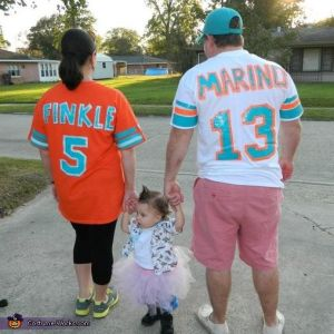 Now if you've seen the movie, you'll get this. The baby is Ace Ventura. The dad is Pittsburgh native, former Miami Dolphins quarterback, and deadbeat dad, Dan Marino,. The mom is disgruntled and crossdressing former Miami Dolphins player Ray Finkle.