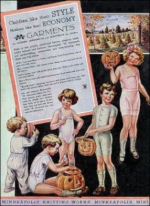 Now I know people had more kids than usual in those days. However, this fact doesn't make an ad featuring a bunch of them in their underwear any less awkward. Also, I think the little girl in white might have murder on the mind. She seems to have no soul.