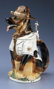 Appropriately it's also a German Shepherd as well. Still, it can also count as a State Trooper beer stein. I mean stateys wear the same outfits.