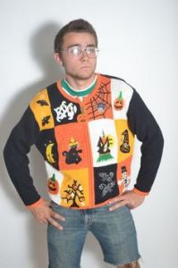 And this guy seems to wear this sweater in confidence despite it looking utterly ridiculous on him. Seriously, he's dressed like the neighbor you can't stand when you take your kids to his house for trick or treating.