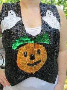 Okay, I'm not sure what to think about sequins in craft projects and decorations. However, this looks like the kind of Halloween vest you'd wear to a disco.