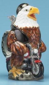Seems like this eagle is too big for his ride. Also, he's not wearing a helmet. Besides, why ride a motorcycle when he could just fly? Then again, it's all about symbolism, is it?