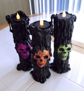 Now I think the flames aren't real but rather electric. And I think the drip is of crayon or paper machete. However, the skulls sure are sparkly and in different colors.
