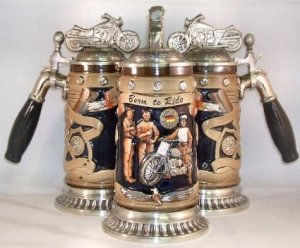 Had no idea that motorcycle fans have their on beer steins. Of course, this one sports a handle in the shape of a beer tap.
