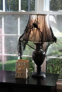 Actually this is a craft project, especially since cobwebs are either gray or white. The black cobwebs is actually dyed cheese cloth. Besides, most spiders aren't that big.