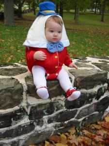 Another adorable baby costume. Of course, if he falls, let's hope that his cracks don't show.