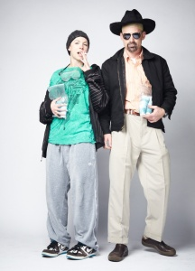 Of course, this couples costume consists of Walter White and Jesse Pinkman. Let's just say that Jesse's girlfriends don't last long and Walt's wife isn't much liked on the show. Still, it might be time to cook for them.