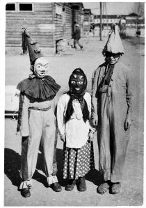I would also be careful around the creepy clown, too.  Not sure about the other kid in a mask.