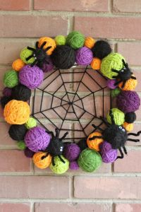 Now you have a yarn spider web in the middle. And you have balls of yarn surrounding it as well as the spiders going around the border. Pretty clever if I do say so myself.