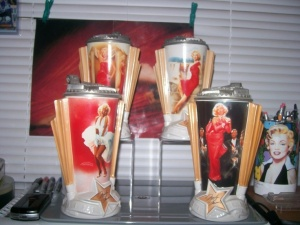 I don't know about these. Yes, Marilyn Monroe was an American icon. But does she really belong on a beer stein? At least a commemorative beer stein with Marlene Dietrich, Conrad Veidt, or Peter Lorre would be more understandable.