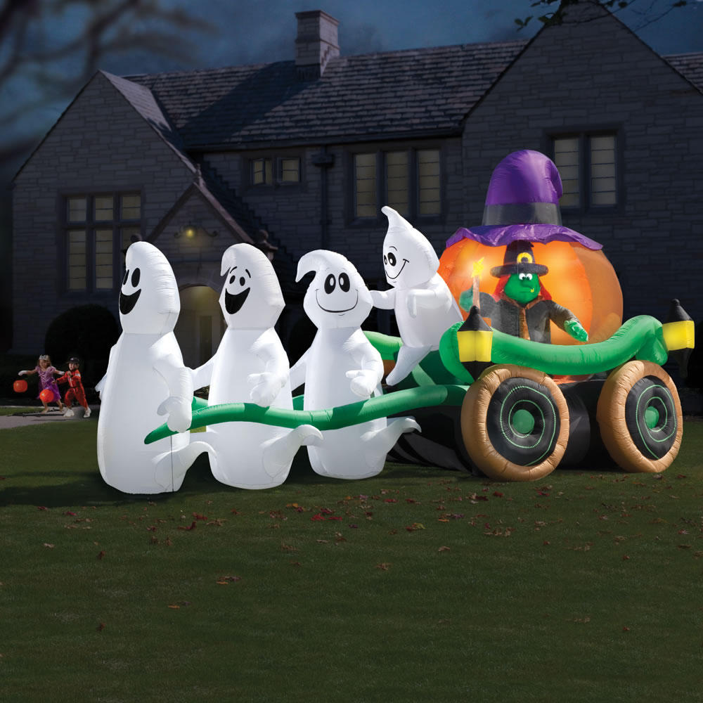 Outdoor inflatable halloween decorations - I Guess These Ghosts Must Wait On Her Hand And Foot Must Suck Being In Halloween Outdoor Decorations