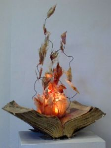 Actually this is a craft project in which it's supposed to look like a spell book. The flames are an imitation. Still, hope the faux spell book was from the Twilight series.