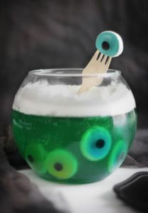 Not sure how the eyeballs are made here. However, it is fairly disgusting enough to be a hit at any Halloween party.
