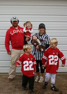 Let me guess. It appears to me this costume theme was the dad's idea. Looks like it. Of course, coach dad and ref mom have a tendency to not always agree on the plays.