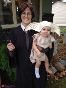 Now this is simply adorable. Still, I have to wonder who the dad's going as. Voldemort? Dumbledore? Hagrid? Ron? Snape?
