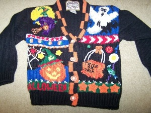Now this looks like one you'd see your elementary school teacher wearing. However, at least this one doesn't have any candy corn on it. But the witch looks blurry.