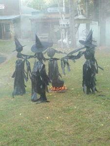 Now these witches are made of some trash bags as you see here. Still, might make my parents mad if I try to attempt this.