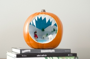 Hey, I didn't say that pumpkin dioramas had to be about Halloween stuff. Still, not sure if the people can fit into the igloo.