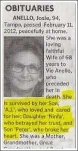 She may have been a loving wife and mother. But her kids never seemed to get along with each other. According to her obituary, that is.