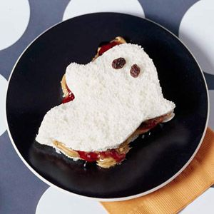 You can just use the eyes for raisins. But make sure to use white bread this time because you know, ghosts are typically seen as white.