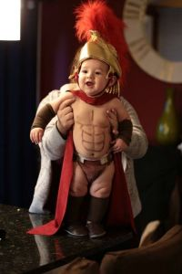 Inspired by the movie 300, no doubt. Seriously, Spartan warriors didn't go into battle wearing speedos for God's sake. Still, cutest little Spartan warrior I've ever seen. Sorry, Gerard Butler.