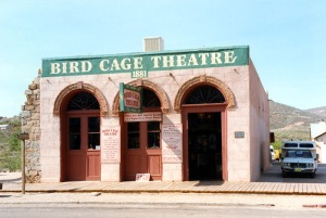 Originally set up to present respectable family entertainment in Tombstone, the Bird Cage Theatre's original owners soon realized the town economics didn't support their aspirations. So it was turned to the Old West equivalent to a titty bar with a gambling area and brothel. Said to have 26 people killed in brawls and their spirits are alleged to lurk there to its day. Still, the wax figures make this places look creepy enough from the inside.