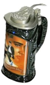 Wouldn't imagine seeing a beer stein commemorating Elvis. Nor one as tacky as this. Still, a beer stein commemorating his Vegas years would've been more appropriate.