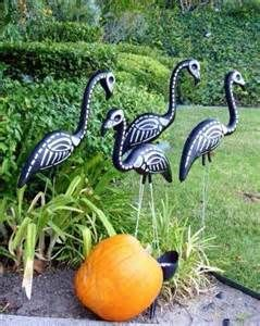 Well, skeleton flamingos of course. Don't know about you but I think they're far less tacky than the actual lawn ornaments we know and love.
