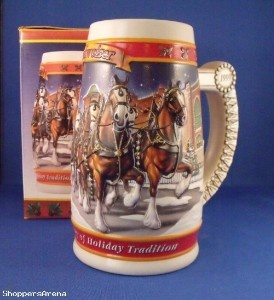Budweiser may not make the best beer. But they're pretty smart about promoting it with their Budweiser Clydesdale steins, especially around Christmas. Because everyone loves them.