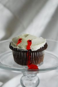 Now this looks quite doable. Just ice a cupcake, poke two holes, and add some red filling for blood.