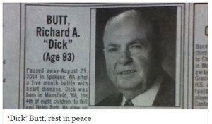 Yeah, I don't think Mr. and Mrs. Butt used good judgement when giving their son a name. But at least they didn't live to see it. I mean the guy died at 93.