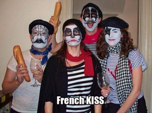 They're dressed as the members of KISS. And they're dressed like French. Get it?