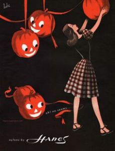 For some reason, jack o'lanterns can be such perverts. One is even looking up that woman's skirt. Yeah, kind of disturbing if you think about it.