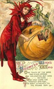 Yeah, those goblins are only out to have a good time, evil witch lady in red. Of course, she's the one letting them out of the pumpkin. Not sure if I trust her.