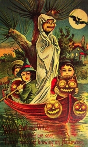 """C'mon, kid's the night's not going to last for ever. Row faster. Row faster."" Man, that pumpkin head is terrifying."