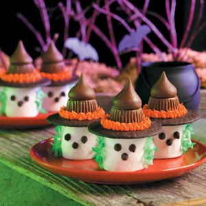 Amazing what you can do with marshmallows and candies. More adorable than scary. But then again, kids will love these.