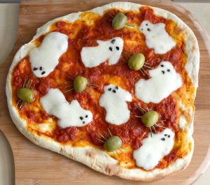 Now the ghosts are made of cheese and the spiders are made of olives. Still, quite ingenious if I do say so myself.