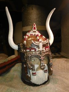 We should be aware that the Vikings never wore horned helmets in battle. That was Wagner's doing in his operas. Also, the lid might pose a safety hazard to others. Then again, it's probably a collectible anyway.