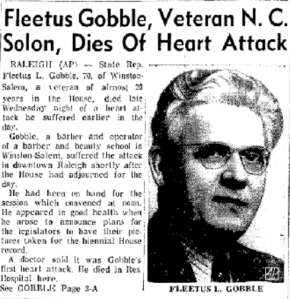 Now this guy's obituary is quite normal and lists his death as a heart attack. Still, anyone with the surname of Gobble is hard to take seriously.