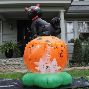I'm sure the ghosts can get out of the pumpkin just fine when they want to. However, it might freak out the cat though.