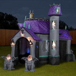 I think it might just be easier and cheaper to make the front of your house look haunted. Inflatables can be quite a headache. Still, it does kind of look like a haunted Victorian mansion.