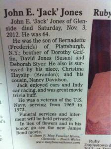 Let's hope his love for racing contributed to his demise. Also, wishes everyone to watch the new James Bond movie. I think it was Skyfall, if I remembered. Dan Craig was good, but the movie--meh.