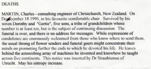 Of course, he had at least 10 grankids but that's a continuing discussion. Of course, the funeral was over before this obit came.