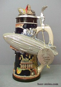 "Okay, this beer stein actually commemorates the Hindenburg. Yeah, you know the one that burst into flames during the 1930s which led a radio broadcaster say, ""Oh, the humanity."" Then again, it could be worse. Could be Volkswagen."
