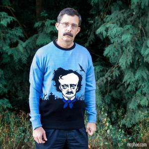Now this is a clever sweater idea. Poe is indeed quite menacing in this. Still, wonder if he'll freak out trick or treaters with this one.