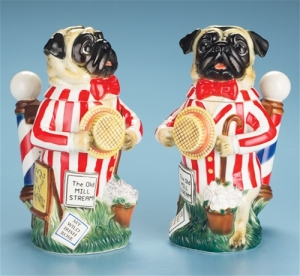 Yeah, I don't get the the association with beer steins and pugs. Still, like the snazzy suit, porkpie hat, and the barber pole handle.