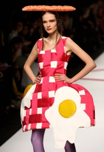 Now this one speaks for itself. Her dress has a couple of eggs over easy and her hair is done like bacon strips.