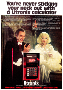 You'd almost think with all the vampire references here, this one was catering to Count von Count. Of course, the Count should've been used in this ad anyway. But the vampire seems to show no interest in the blond just the same.